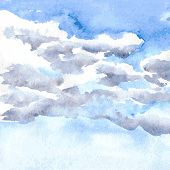 watercolor drawing clouds