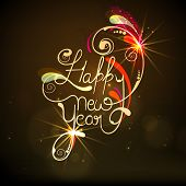 Stylish text Happy New Year decorated with beautiful floral design on shiny brown background, Can be used as poster, banner or flyer.