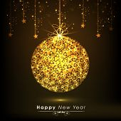 Beautiful shiny golden Christmas ball with stars on dark brown background for Happy New Year celebrations.