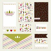 Vintage collection of vector Christmas and New year design elements