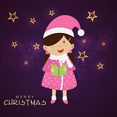 Cute little girl singing jingle on stars and snowflake decorated purple background for Merry Christmas celebrations .