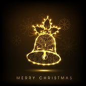 Shiny golden floral decorated jingle bell for Merry Christmas celebration on snowflake decorated brown background.