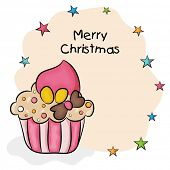Merry Christmas celebration greeting card design with delicious cupcake on star decorated beige background.
