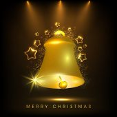 Beautiful greeting card design decorated with shiny golden bell and stars on brown background for Merry Christmas celebrations.