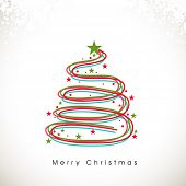 Merry Christmas celebration concept with stylish X-mas tree decorated with stars on shiny snowflake decorated background.
