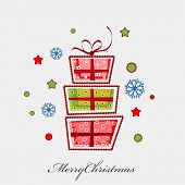 Greeting card for Merry Christmas celebration with colorful gift boxes on star and snowflakes decorated grey background.