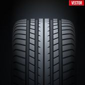 Realistic rubber tires banner. Vector Illustration