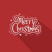 Merry Christmas celebration poster, banner or flyer with stylish text decorated with stars on red background.