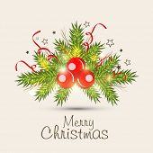 Merry Christmas greeting card decorated with beautiful mistletoe on beige background.