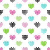 Colorful Seamless Pattern Of Halftone Hearts