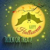 Halloween Card With Bat