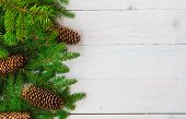 Christmas Background Spruce Twigs Cones White Wooden