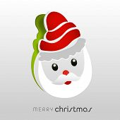 Smiling Santa Clause in red hat, torn paper sticky on grey background for Merry Christmas celebrations.
