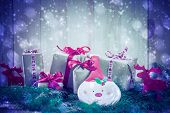 Holidays Coming Snowing Christmas Gifts Reindeer Needles