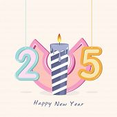 Stylish colorful text 2015 with illuminated candle, greeting card design for Happy New Year celebration.