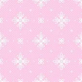 Pink seamless background with openwork white pattern