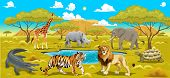 African landscape with animals. Vector natural illustration