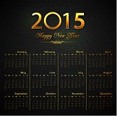 Beautiful shiny 2015 New Year calendar with golden text on seamless black background.