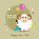 Poster, banner or flyer decorated with sheep, balloons and ball on stylish background for Happy New Year 2015 celebrations.