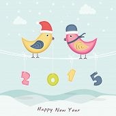 Cute birds in Santa cap with colorful hanging text 2015 on sky blue background for New Year celebrations.