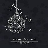 Happy New Year 2015 greeting card design with beautiful floral decorated Christmas ball on dark grey background.