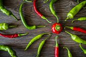 Red Hot Peppers And Green Peppers