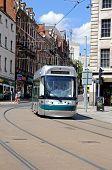 Modern tram in Nottingham city centre