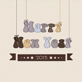 Happy New Year 2015 celebration with creative hanging text on abstract background.