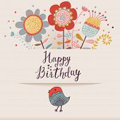 Beautiful happy birthday greeting card with flowers and bird. Cartoon party invitation with floral elements.