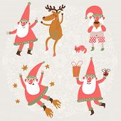 Funny Santa Claus and Deer in vector set. Dancing Santa and his friend Deer, Santa drinking hot tea with his cat, Santa with gifts and Santa flying in the stars. Cute Childish holiday characters