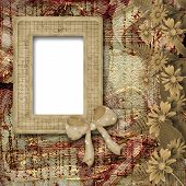 Herbarium Of Flowers And Leaves On The Floral Background With Frame