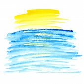 Yellow and blue watercolor vector spot