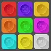 library, push-button telephone, ink pen, pencil, opened lock, hotline, globe, globe and phone, idea. Color set vector icons.
