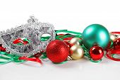 Christmas Balls And Carnival Mask Isolated On White