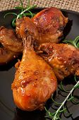 stock photo of marinade  - Baked chicken drumsticks in honey mustard marinade - JPG