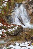 Alpine Waterfall In Winter