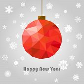 vector new year and christmas greeting card with polygonal ball