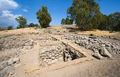 picture of biblical  - Ruines an excavations of houses in the biblical village Bethsaida which is located about 2 kilometers from the lake of Galilee - JPG