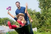 Man pushing his girlfriend in a wheelbarrow at home in the garden