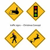 Creative Warning Traffic Signs With Christmas Concept, Vector