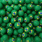 Brasilian Football Balls (many). 3D Render Background
