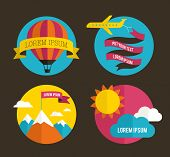 Air balloon, sun, mountains and airplane backgrounds with ribbons