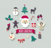 Christmas background with cute icons. Can be used as a greetings card or as individual icons.