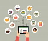 Постер, плакат: Food background food blogging reading about food searching for recipes or ordering food online