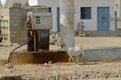 Old fuel station in Hadhramaut valley, Yemen.