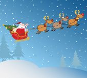Santa Claus In Flight With His Reindeer And Sleigh In Christmas Night