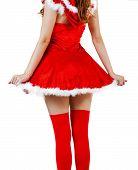 Christmas Woman Wearing Red Santa Claus Dress