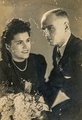 GERMANY, CIRCA THIRTIES: Vintage photo of newlyweds