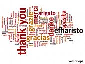 stock photo of thanksgiving  - Vector concept or conceptual abstract thank you word cloud in different languages or multilingual for education or Thanksgiving Day - JPG
