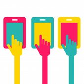 Colorful Touch Screen Smartphone Icon. Hand Pointer Symbol. Vector Flat Style Illustration